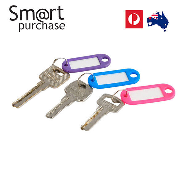 Keyrings x 5 with Label Good Quality Plastic Key Ring ID Tag Name Card